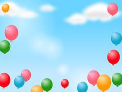 100を超える風船が空に消えて行く光景