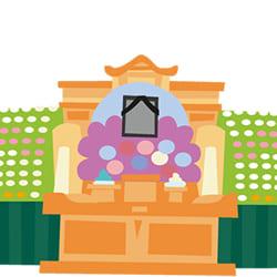 祭壇の飾りは野辺送りが由来