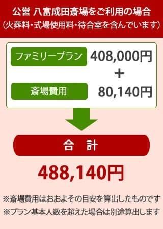 八富成田斎場を利用した家族葬・ファミリープランの内訳